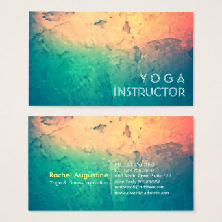 Professional Yoga Instructor Fitness Color Grunge Business Card