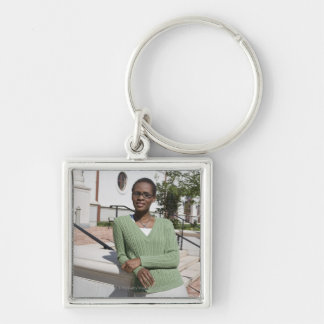 Professor on campus Silver-Colored square key ring