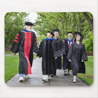 Professors and students walking to graduation mouse pad