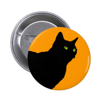 Profile Black Cat on Orange 6 Cm Round Badge