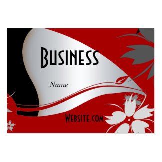 Profile Business Card Black Silver Red Floral