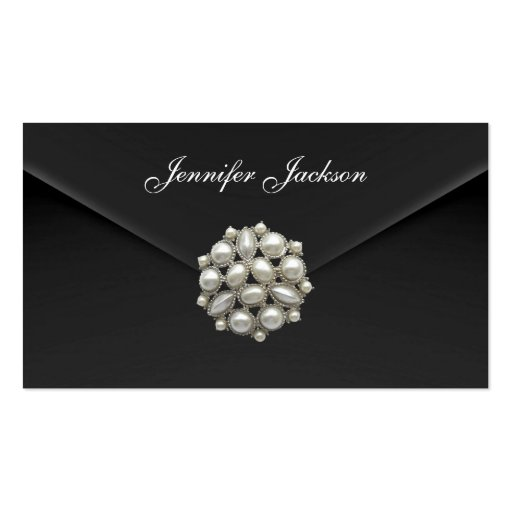 Profile Card Business Black Velvet Pearl Jewel Business Card