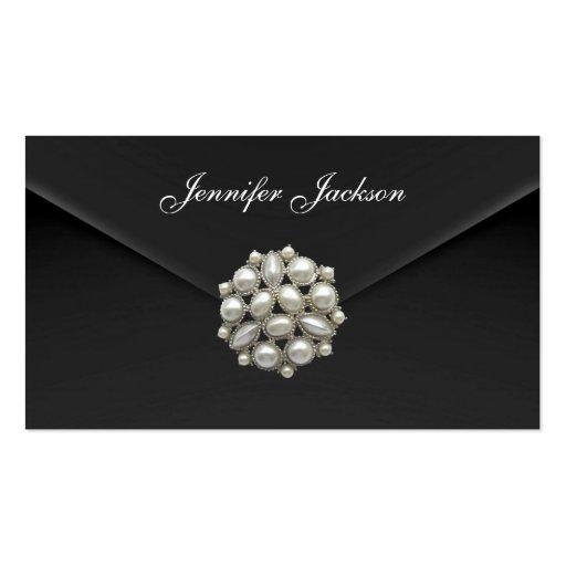 Profile Card Business Black Velvet Pearl Jewel Business Card