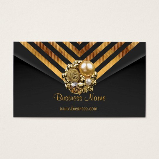 Profile Card Business Gold Jewel Black Velvet Stri