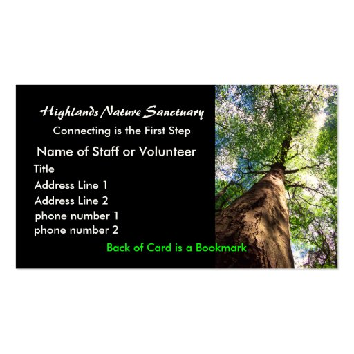 profile card, Highlands Nature Sanctuary Business Card Template