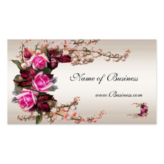 Profile Card Vintage Cream Pink Roses Business Cards