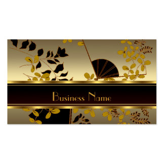 Profile Card Vintage Floral Gold Black Asian Business Card Template
