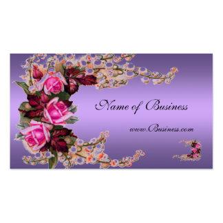 Profile Card Vintage Mauve Purple Pink Roses Business Cards
