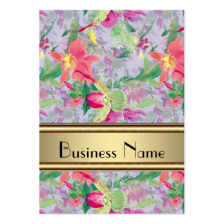 Profile Card Vintage Print Floral Business Card Template