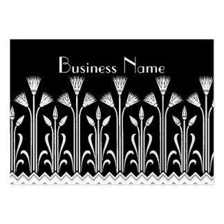 Profile Card Vintage Victorian Pattern Black White Business Card Template