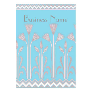 Profile Card Vintage Victorian Pattern Blue Grey Large Business Cards (Pack Of 100)