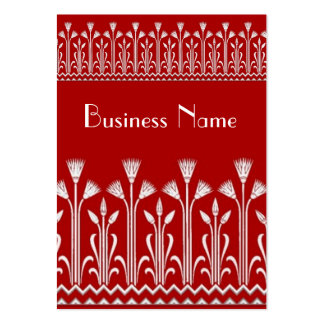 Profile Card Vintage Victorian Pattern Red White Large Business Cards (Pack Of 100)