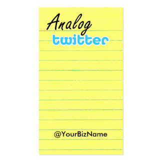 Profile / Note Card! AnalogTwtr yelbk lined Pack Of Standard Business Cards