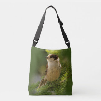 Profile of a Cute Grey Jay / Whiskeyjack Crossbody Bag
