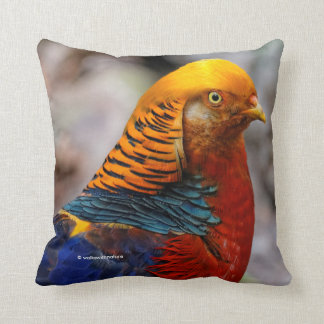 Profile of a Golden Red Pheasant Throw Pillow