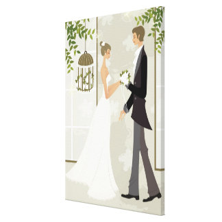 Profile of a man giving flowers to a woman canvas print