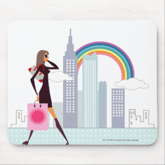 Profile of a woman walking holding a shopping bag mouse pad