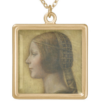 Profile of a Young Fiancee Gold Plated Necklace