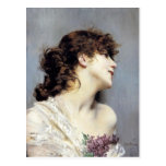 Profile of a Young Woman by Giovanni Boldini Post Cards