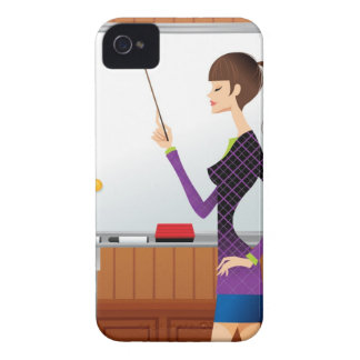 Profile of businesswoman pointing whiteboard iPhone 4 cases