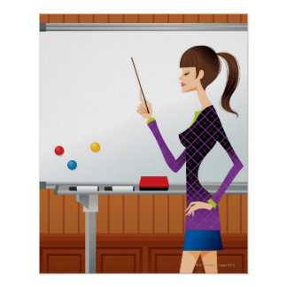 Profile of businesswoman pointing whiteboard poster