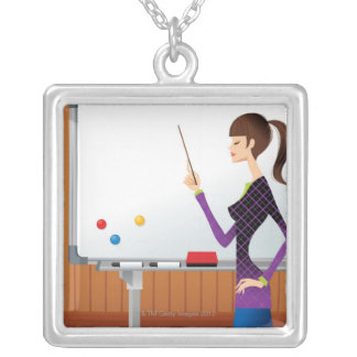 Profile of businesswoman pointing whiteboard silver plated necklace