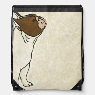 Profile of French Bulldog Looking Up Drawstring Bag