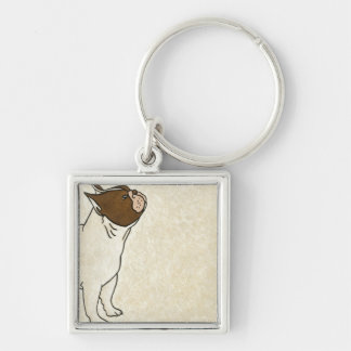 Profile of French Bulldog Looking Up Key Ring