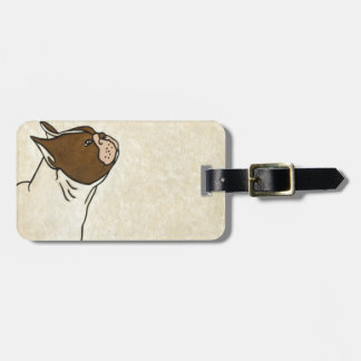 Profile of French Bulldog Looking Up Luggage Tag