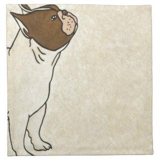Profile of French Bulldog Looking Up Napkin