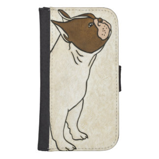 Profile of French Bulldog Looking Up Samsung S4 Wallet Case