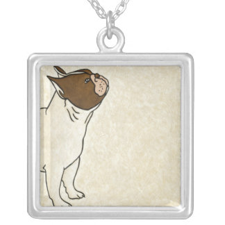 Profile of French Bulldog Looking Up Silver Plated Necklace