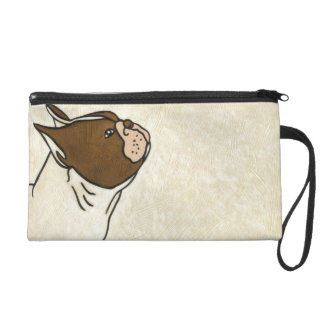 Profile of French Bulldog Looking Up Wristlet