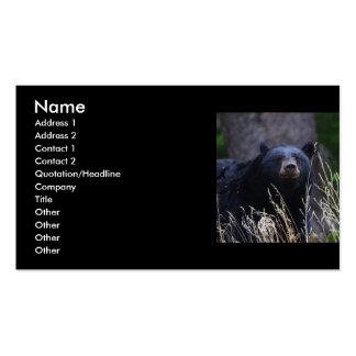 profile or business card, black bear
