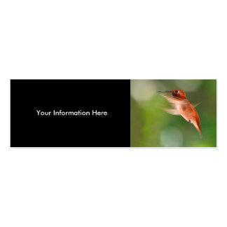 profile or business card, hummingbird