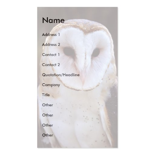 profile or business card, owl