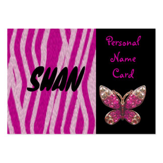 Profile Personal Name Card Pink Butterfly Business Card
