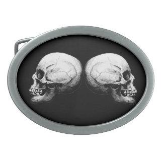 Profile Skull Black and White Belt Buckle