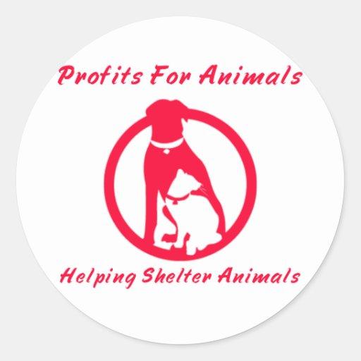Profits For Animals Round Stickers