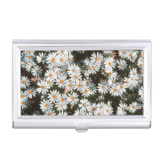 Profusion Of White Daises (Asteraceae) Business Card Holder