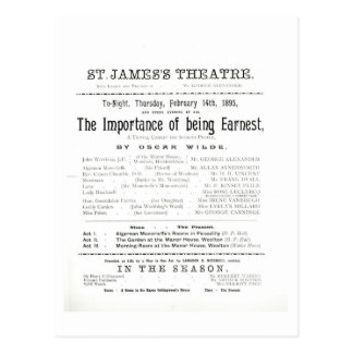 Programme for a performance of The Importance of B Postcard