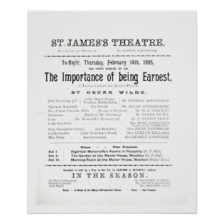 Programme for a performance of The Importance of B Poster