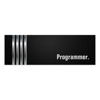 Programmer - Black Silver Stripes Pack Of Skinny Business Cards