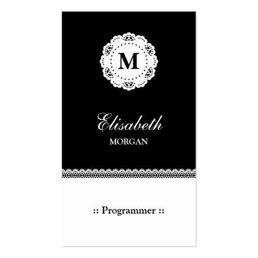 Programmer - Black White Lace Monogram Business Cards