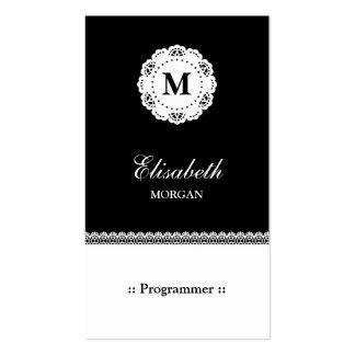 Programmer - Black White Lace Monogram Pack Of Standard Business Cards