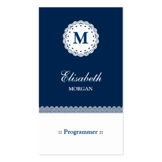 Programmer - Blue White Lace Monogram Pack Of Standard Business Cards