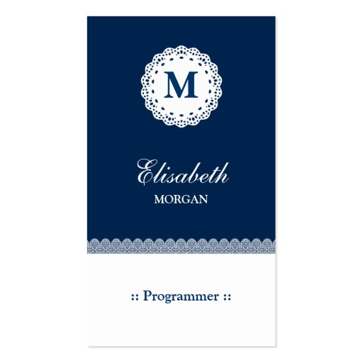 Programmer - Blue White Lace Monogram Business Card