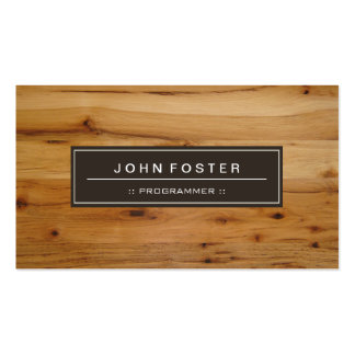 Programmer - Border Wood Grain Pack Of Standard Business Cards