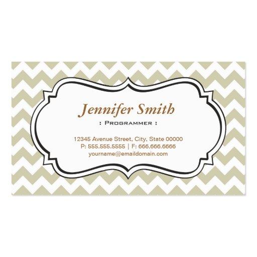 Programmer - Chevron Simple Jasmine Business Cards