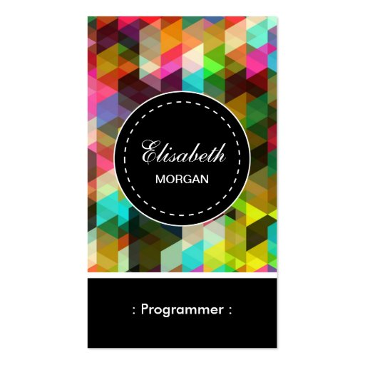 Programmer- Colorful Mosaic Pattern Business Card Templates